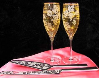 Personalized  Wedding Cake Server & Champagne Flute Set, Wine Themed Decor with Grapevines, Rustic Wedding