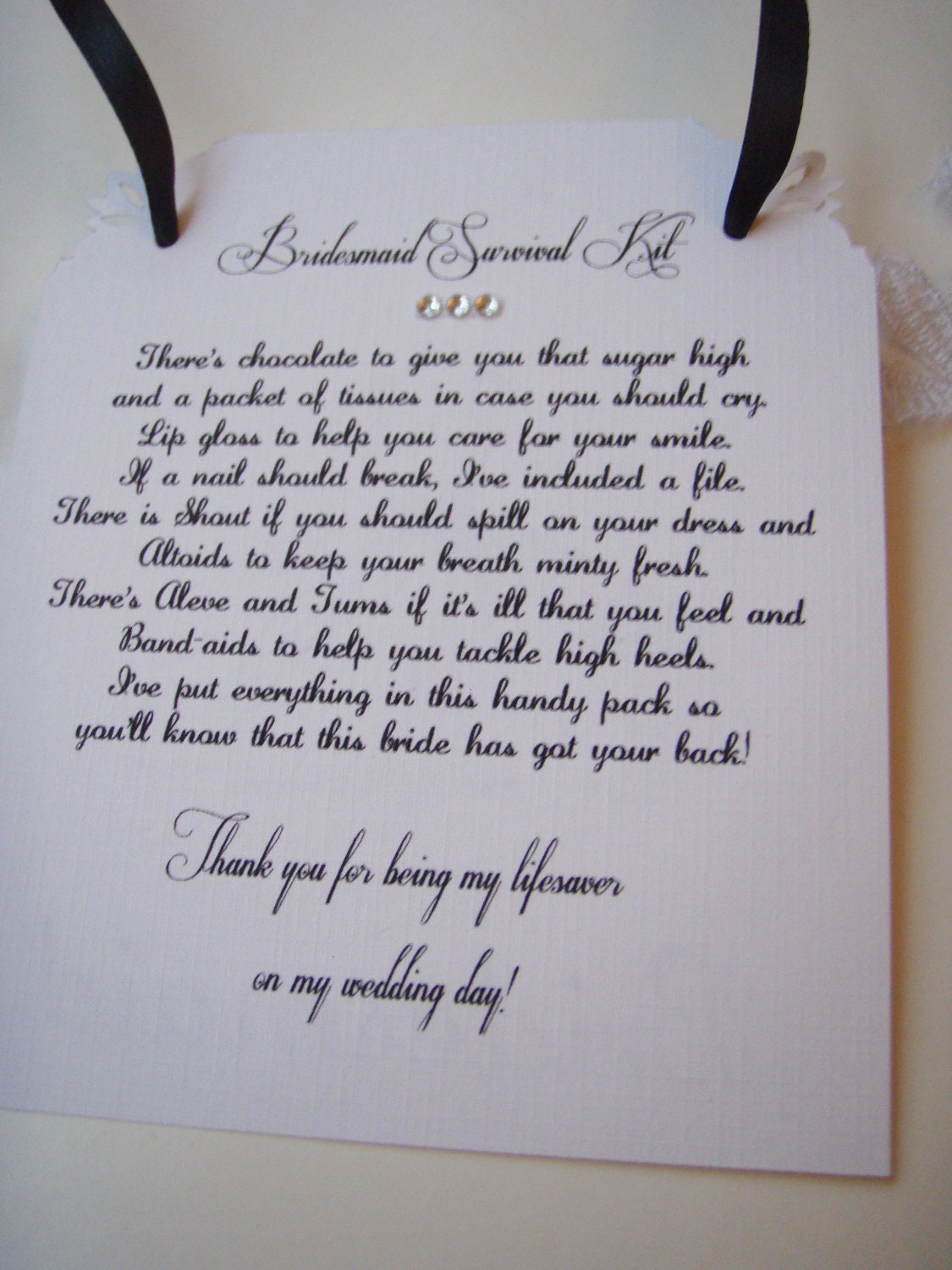 Bridesmaid Survival Kit Tags Thank You Non Personalized With