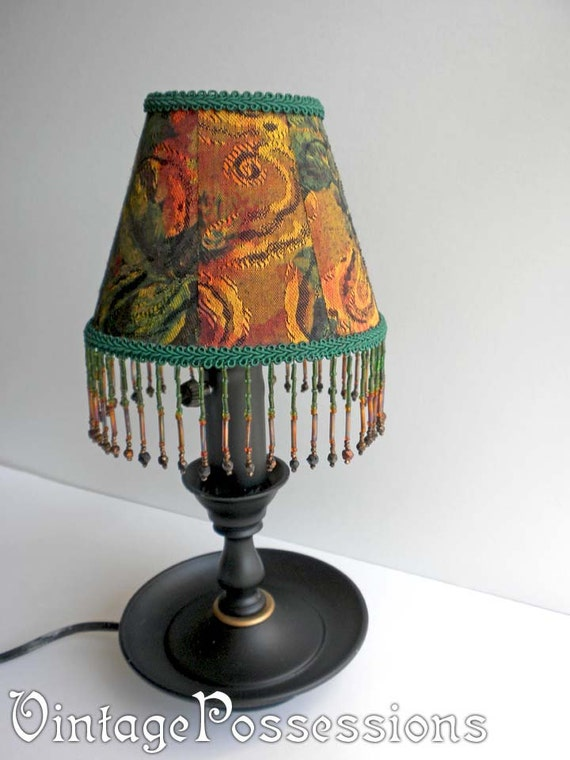 vintage l with handmade beaded shade and antique
