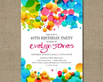 Printable Colorful Abstract Bubbles birthday party invitation