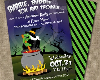 PRINTABLE Retro Witch Halloween party invitation and coordinating back