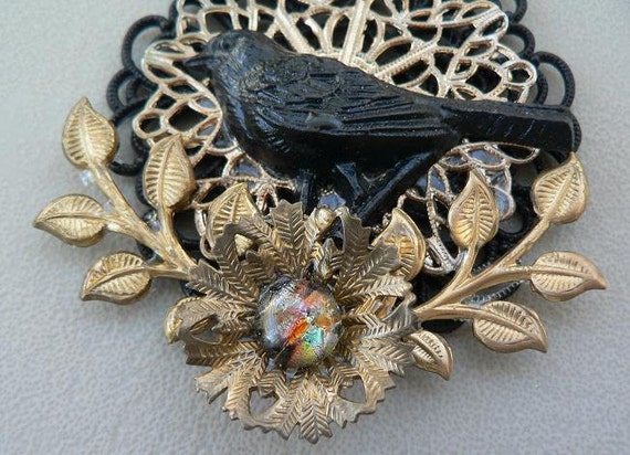 THE RAVEN Steampunk Assemblage Necklace