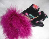 Arm Warmers Magenta Feathers trim Black Floral Fleece