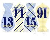 Monthly Milestone Stickers- Second Year Stickers- Boys Monthly Necktie Bodysuit Stickers- Baby Month Stickers- Monthly Baby Stickers-BOY242