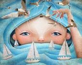 "Girl or Boy Ocean Waves Fine Art Print ""Swell"" Boats and Seagulls Fairy Tale Art Medium Size 8.5x11 or 8x10 Giclee Print"