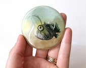 Mr. Fishy Friend On His Own Pocket Mirror Made from Original Art Print with Organza Bag