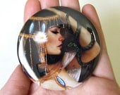 Cleopatra Pocket Mirror Made From Original Art with Organza Bag 2 1/4 inches