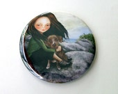 "Pocket Mirror ""Keli and Olive"" 2 1/4"" Round Compact Mirror - Hiker Girl Pet Dog Rock Climbing Outdoors"