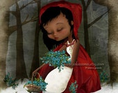 """Fine Art Print """"Red Riding Hood"""" 8.5x11 or 8x10 - Lowbrow Art - African American Girl in Woodland Fairy Tale Fantasy - Bluebells and Snow"""