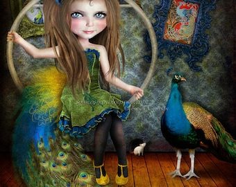 "Art Print ""Little Bird"" Circus Performer Art - Peacock Girl - 8.5x11 / 8x10 medium sized Giclee Print - Jessica von Braun Digital collage"