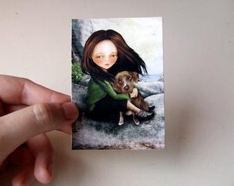 Keli and Olive ACEO/ATC Artist Trading Card Mini Print 2.5x3.5 Premium Hahnemuhle Fine Art