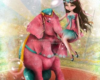 "Circus Art Girl and Pink Elephant ""Chelsea y Beatriz Senora del Elefante Rosa"" Medium Giclee Fine Art Print 8x10 or 8.5x11"