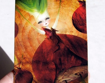 "ACEO/ATC Red Onion Girl - ""Layers"" - Mini Premium Fine Art Print Artist Trading Card 2.5x3.5 inches - Lowbrow Art Print"