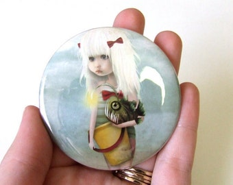 """Pocket Mirror """"My Fishy Friend"""" Little Girl with Angler Fish Lowbrow Art Illustrated Small Real Mirror - 2 1/4"""" Round"""