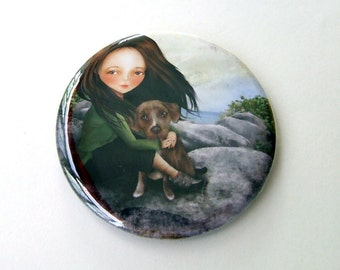 "Pocket Mirror ""Keli and Olive"" 2 1/4"" Round Compact Mirror - Hiker Girl Pet Dog Rock Climbing Outdoors"