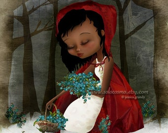 """Fine Art Print """"Red Riding Hood"""" 11x17 or 13x19 - Lowbrow Art - African American Girl in Woodland Fairy Tale Fantasy - Bluebells and Snow"""