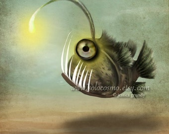 "Fine Art Print ""Mr. Fishy on His Own""  Medium Size 8.5x11 or 8x10  Premium Giclee Print of Angler Fish Green Sea Monster"