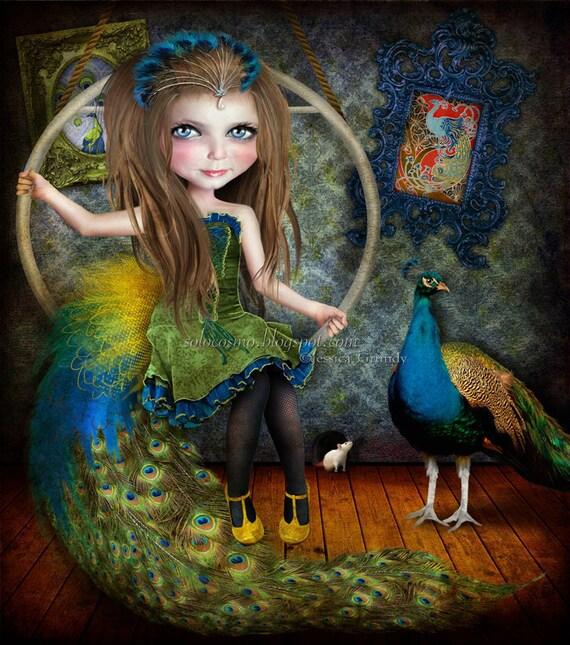 "Art Print ""Little Bird"" Circus Performer Art - Peacock Girl - 8.5x11 / 8x10 medium sized Giclee Print - Jessica von Braun Digital collage"
