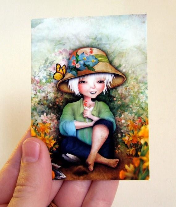 "ACEO - ""Betty in her Garden"" -  ACEO/ATC Premium Fine Art Art Mini Print Artist Trading Card 2.5x3.5"