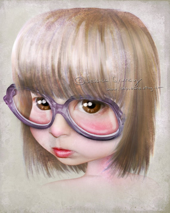 """Fine Art Print """"Imperfect - Portrait of the Artist as a Child"""" 8.5x11 / 8x10  Print of Little Girl With Glasses - Nerdy Girl - Big Eye Art"""