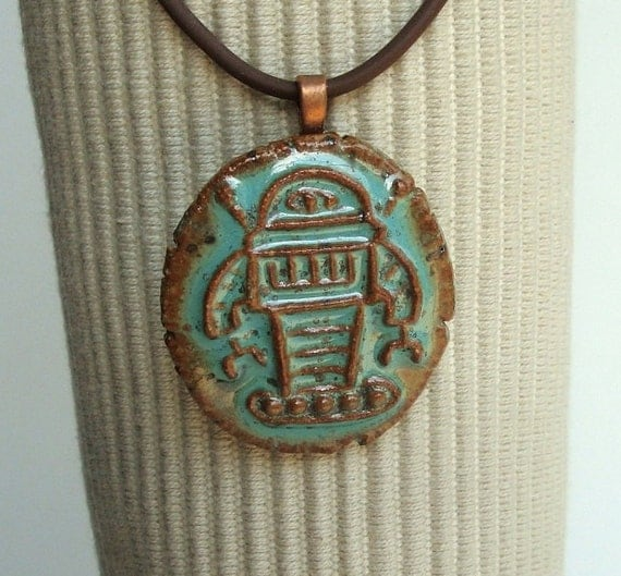 Robot Ceramic Pendant in African Turquiose Green glaze, lovely brown rustic edges
