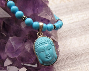 Turquoise Buddha Head Pendant with Amethyst and Turquoise