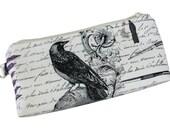 The Raven Zipper Pouch Nevermore Edgar Allan Poe Makeup Flat Bottom Cosmetic Bag