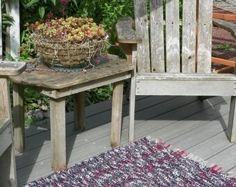 Red , Black & White Hand Woven Rug