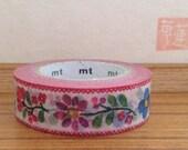 mt ex  japanese washi masking tape -floral embroidery