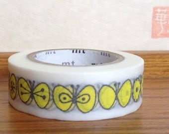 mt washi masking tape - choucho butterfly - designer mt x mina perhonen - yellow