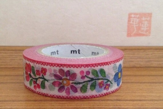 mt ex  japanese washi masking tape -floral embroidery