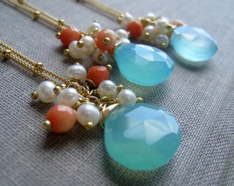 set of 3 Aqua briolette necklace with pearl & coral, bridesmaid gift, bridal party gifts, Bridesmaid jewelry, summer spring wedding