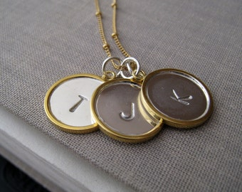 Personalized jewelry, three initial necklace, modern mixed metal disc letter charm, monogram necklace