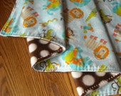 """SALE Super Cute And Cuddly Baby Blanket.  Flannel and Fleece Bundled Jungle Animals 35x29"""""""