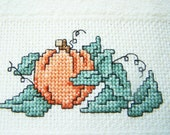 Cross Stitch Velour Towel, Autumn Towel, Fall Pumpkin. Kitchen Towel, Bathroom Towel, Completed Cross Stitch