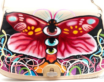 SALE - Vintage leather bag 'I see a psycho', hand-painted