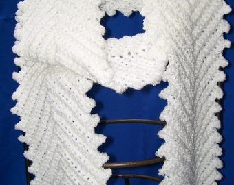 "FREE SHIPPING  - Beautiful snow white super soft Amore yarn 72"" crocheted fern leaf stitch scarf"