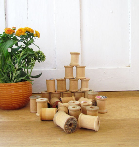 Vintage Wooden Thread Spools - Collection of 29