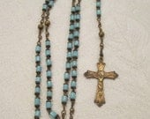 Vintage Rome Gold Tone Crucifix Blue Glass Bead Rosary