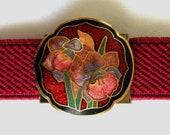 Vintage Cloisonne Daffodil Dark Red Elastic Belt, Floral Cloisonne Belt, 1980's Maroon Adjustable Belt with Flowers