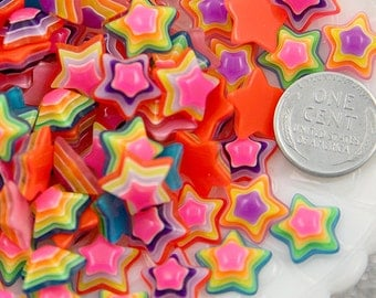 Star Flat Backs - 13mm Tiny Bright Striped Neon Rainbow Stars Resin Cabochons - 15 pc set