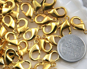 Lobster Clasps - 15mm Gold Plated Lobster Clasps - 10 pc set