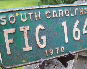 Vintage 1974 South Carolina Car License Tag Plate-Hunter Green Automobile Vehicle License Plate Numbers-Letters-Typography Masculine Decor