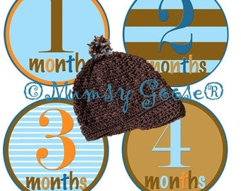 Baby Boy Age Stickers Baby Months Stickers Boy  Month Baby stickers Milestones Great Newborn Photo Prop