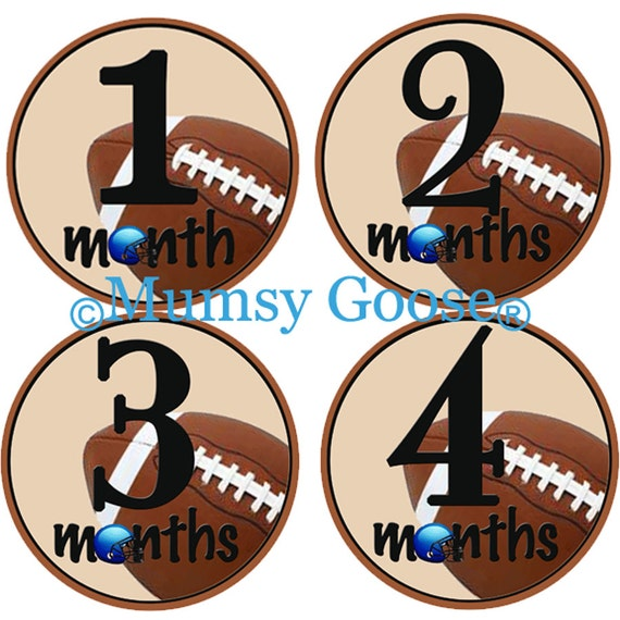 Baby Boy Bodysuit Stickers Baby Months Stickers Football Month Stickers Baby stickers Milestone Stickers