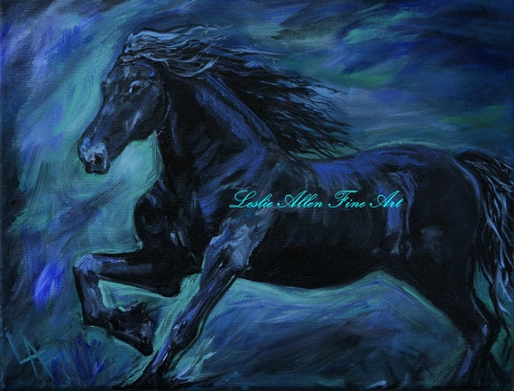 "Horse ORIGIANL ACRYLIC PAINTING Horses Stallion Friesian Friesians Equine  Running Abstract  ""Friesian Flare"" Leslie Allen Fine Art"