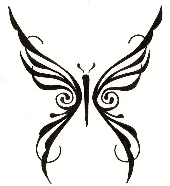 items similar to tribal butterfly custom tattoo drawing on etsy. Black Bedroom Furniture Sets. Home Design Ideas