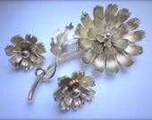 Vintage Lisner Parure Brooch Earrings Floral Silver Rhodium Plated