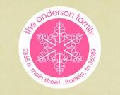 Return address labels, stickers, tags, envelope seals, round-- snowflake 2