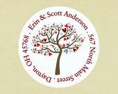 Return address labels, stickers, tags, envelope seals, round-- Winter love tree